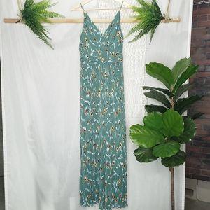 ASTR The Label Plisse Flare Jumpsuit Green Print